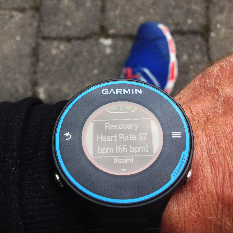 Garmin Forerunner 620 viser Recovery Heart Rate værdien efter træning.