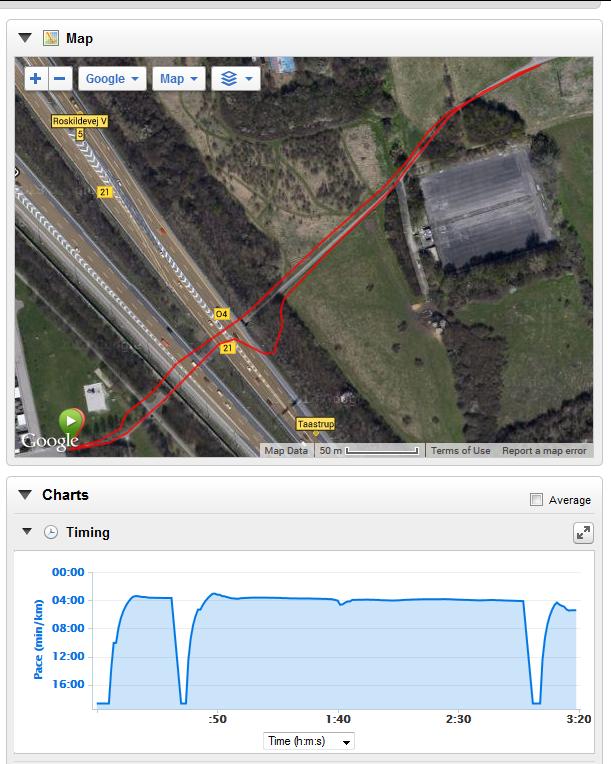 Godt eksempel på hvordan en tunnel kan drille GPS modtagelsen.