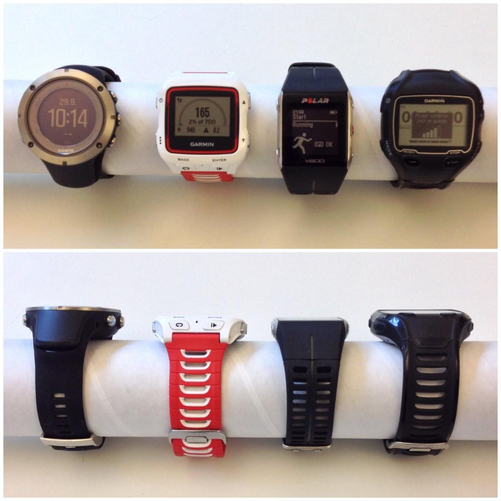 Sammenligning af fysisk- og skærmstørrelse på nogle af de nyeste og mest populære GPS produkter på markedet. Fra venstre mod højre Suunto Ambit 3 Peak Sapphire, Garmin Forerunner 920XT, Polar V800 og Garmin Forerunner 910XT.