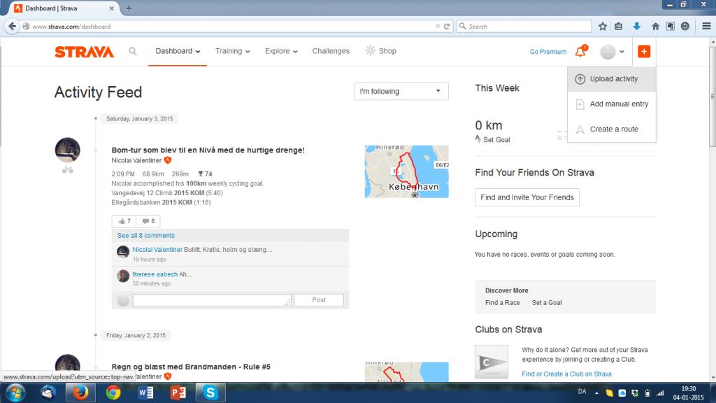 Vælg upload activity i øverste højre hjørne.