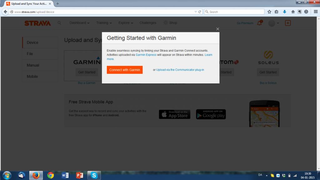 """To hurtige klik på """"Get Started"""" og """"Connect with Garmin"""" og du er på vej videre."""