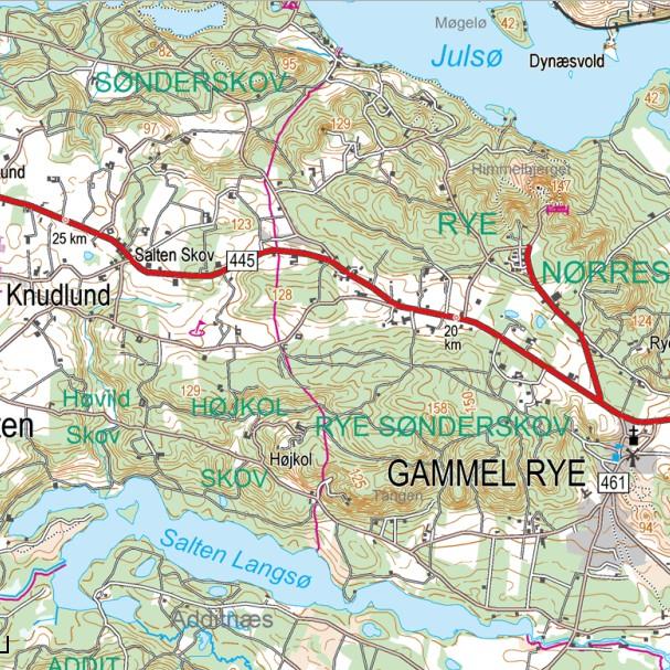 Eksempel på topokort med højdeangivelser som punkter og kurver. Her området ved Gl. Ryg nær Silkeborg om huser blandt andet Himmelbjerget.