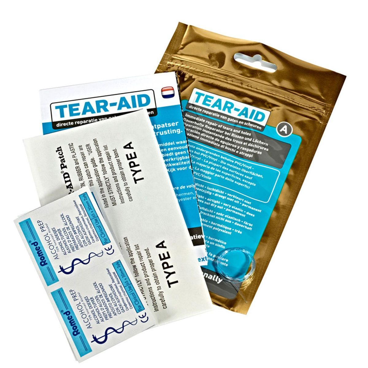 Lapning af grej med Tear-Aid