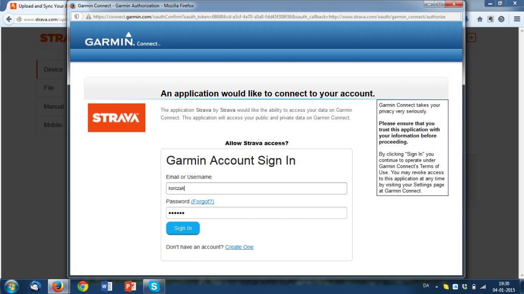 Autorisering af Strava med Garmin Connect - log ind som normalt.