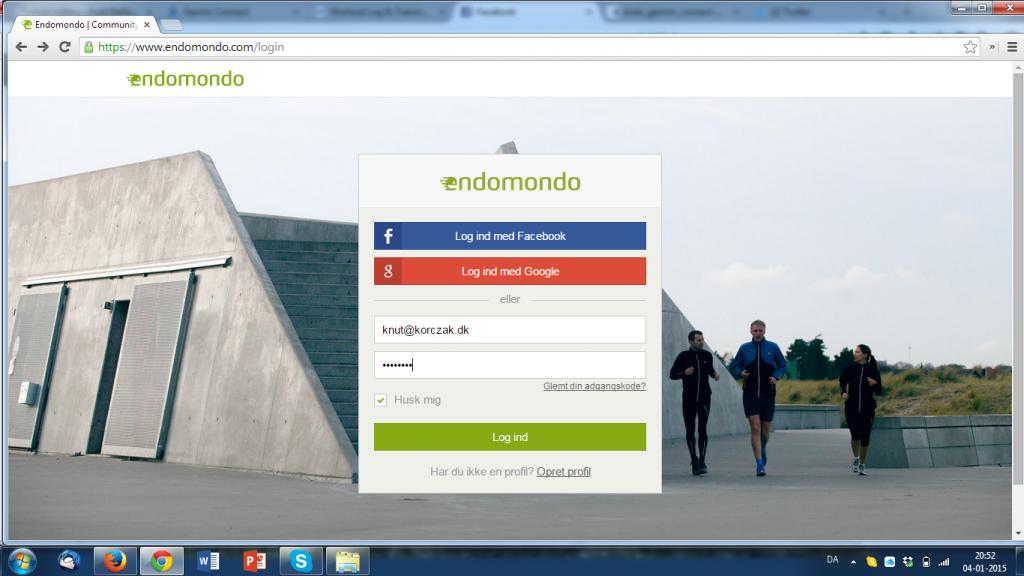 Log ind på din Endomondo konto, eller opret en ny konto hvis du ikke har en i forvejen.
